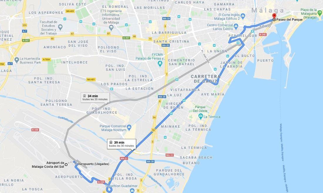 transfert aéroport malaga - carte trajet bus