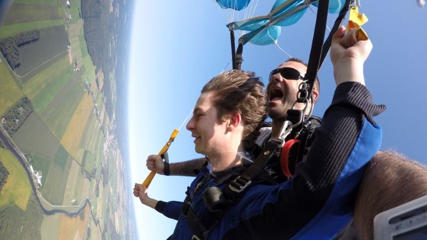 saut en parachute - descente sous voile